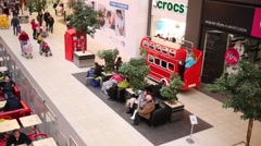 Moving small bus in store of  Ikea in Samara. Stock Footage