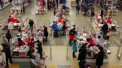 People in large Auchan shop in Samara, Russia. Stock Footage