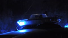 Police car blu lights. Real Italian police car, parked in city street. 2 Stock Footage