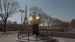 Time lapse Flame of Liberty Eiffel Tower, Paris Stock Footage