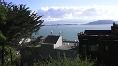 San Francisco Bay Bridge from Telegraph Hill Stock Footage
