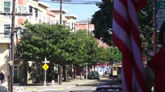 San Francisco cablecar and American flag Stock Footage