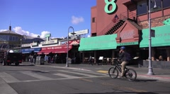 San Francisco, Bicycle touring Fisherman's Wharf Stock Footage