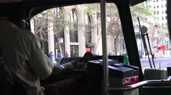 San Francisco, riding in a streetcar w/ driver Stock Footage