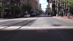 San Francisco, Electric Streetcars in traffic Stock Footage