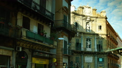 Palermo,Italy,Sicily:Quatro cante in Palermo, time lapse, 4k, pan and zoom Stock Footage