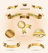 Set of Superior Quality and Satisfaction Guarantee Ribbons, Labels, Tags - stock illustration