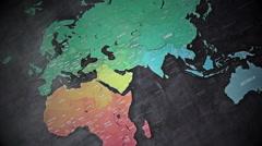Panorama World Map Stock Footage