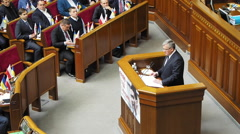 President of Poland Bronislaw Komorowski gave a speech. -- President of Polan Stock Footage