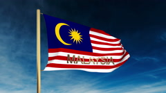 Malaysia flag slider style with title. Waving in the wind with cloud background Stock Footage