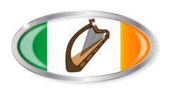 Irish Flag Oval Button Stock Illustration