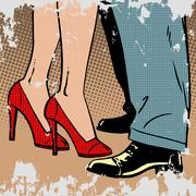 love man and woman dance hugs pop art comics retro style Halfton - stock illustration