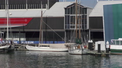 Historic boats at Auckland Maritime Museum Stock Footage