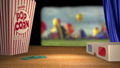 Curtains open revealing hot air balloon footage theater style - stock footage