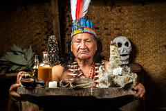 Shaman In Ecuadorian Amazonia During A Real Ayahuasca Ceremony Model Released - stock photo