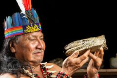 Shaman In Ecuadorian Amazonia During A Real Ayahuasca Ceremony Model Released Stock Photos