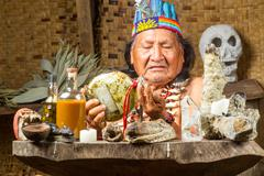 Stock Photo of Shaman In Ecuadorian Amazonia During A Real Ayahuasca Ceremony Model Released