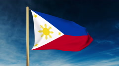 Philippines flag slider style. Waving in the wind with cloud background Stock Footage