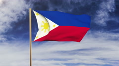 Philippines flag with cloud waving in the wind. Green screen, alpha matte Stock Footage