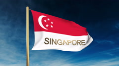 Singapore flag slider style with title. Waving in the wind with cloud background Stock Footage