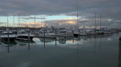 Marina & Boats at dawn Stock Footage
