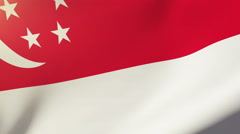 Singapore flag waving in the wind. Looping sun rises style.  Animation loop Stock Footage