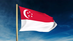 Singapore flag slider style. Waving in the wind with cloud background animation Stock Footage