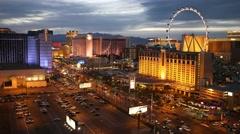 Las Vegas Casino Resorts Dusk Time Lapse Stock Footage