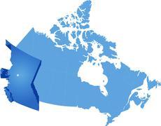 Map of Canada - British Columbia province - stock illustration