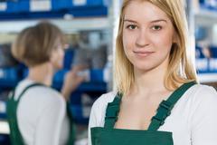 Beauty female manufacturing worker Kuvituskuvat