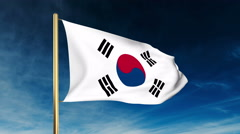 South Korea flag slider style. Waving in the wind with cloud background Stock Footage