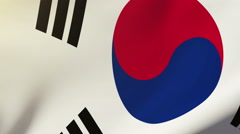 South Korea flag waving in the wind. Looping sun rises style.  Animation loop Stock Footage
