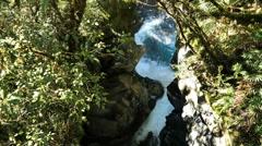 New Zealand Fiordland white water through gorge narrows Stock Footage