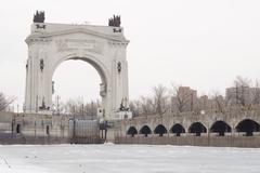 Stock Photo of Arch, pier Volga-Don canal Lenin, the gateway 1, Volgograd winter
