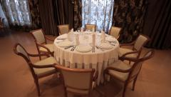 Laid Table In The Banquet Hall Stock Footage