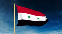 Syria flag slider style. Waving in the wind with cloud background animation Stock Footage