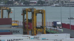 Container Gantries, Port of Auckland, New Zealand Stock Footage