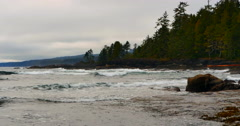 4K Gray Weather on Pacific North West Coast Beach Stock Footage