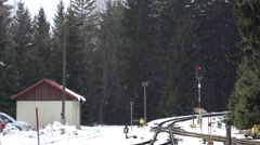 4k Snow at narrow gauge forest station Harz winter Stock Footage