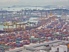 Timelapse of the port of Singapore, 4K Stock Footage