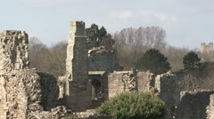 Ruins of medieval Easby Abbey. Stock Footage