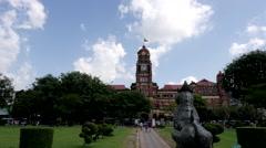 Timelapse at Bandoola park with High Court,Yangon,Burma Stock Footage