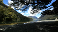 New Zealand Lake Gunn distant mountains underneath tree branch Stock Footage