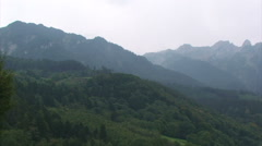 Pan on view of Liechtenstein Alps mountain range Stock Footage