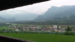 Liechtenstein Rhein valley landscape, framed and pan right Stock Footage
