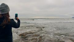 4K Pacific North West Coast Beach on Grey Day Stock Footage