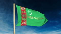 Stock Video Footage of Turkmenistan flag slider style with title. Waving in the wind with cloud
