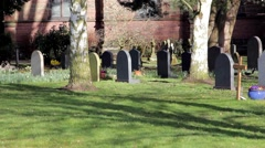 Picturesque Church Yard in Beautiful Morning Light - Squirrels & Gravestones Stock Footage