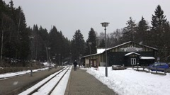 4k Snow at station Schierke winter mountain forest Harz Stock Footage
