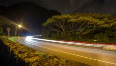 Time Lapse, Pali  night traffic over Lanikai, Kaneohe, Oahu, Hawaii UHD Stock Footage